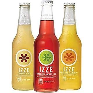IZZE Sparkling Juice, 3 Flavor Variety Pack, 12 Fl Oz Glass Bottles, 12 Count