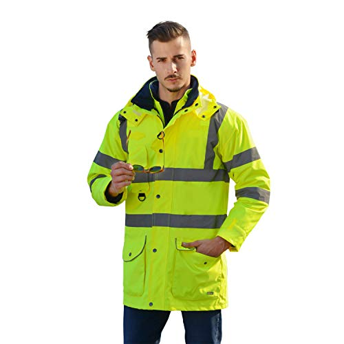 (Holulo High Visibility Rain Jacket Neon Yellow Reflective Jacket Illuminator Class 3 Waterproof Windproof Safety Coat With Zipper,Pockets,Removable Hat (XL))