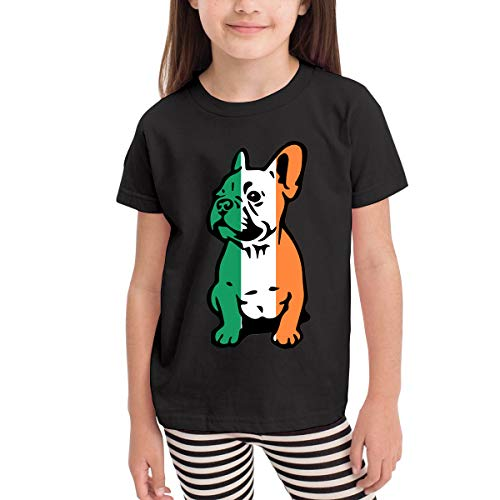 Irish Flag Bulldog Costume Infant Kids O-Neck Short Sleeve Shirt T-Shirt for 2-6 Toddlers Black ()