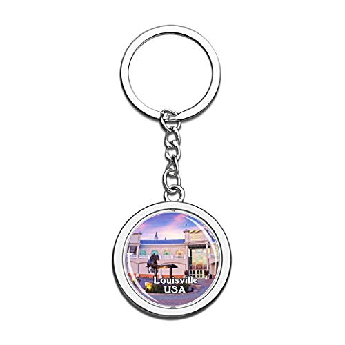 USA United States Keychain Kentucky Derby Museum Louisville Key Chain 3D Crystal Spinning Round Stainless Steel Keychains Travel City Souvenirs Key Chain Ring -