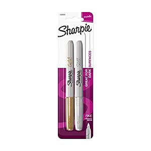 Sharpie Metallic Fine Point Permanent Marker, Assorted Colors, 2-Pack