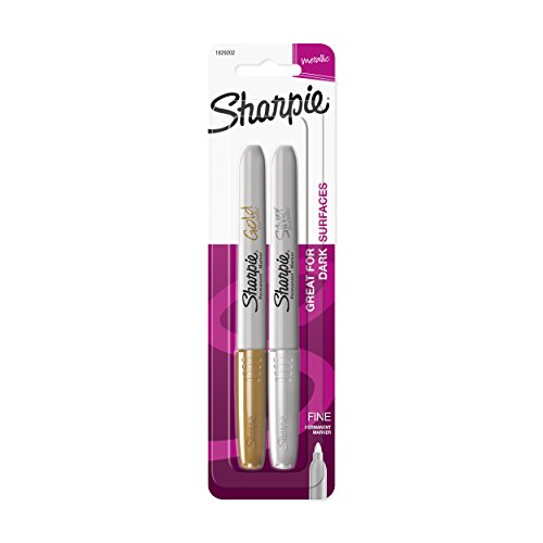 Sharpie Metallic Fine Point Permanent Marker, Assorted Colors, 2-Pack (Marker Black Sharpie Paint)