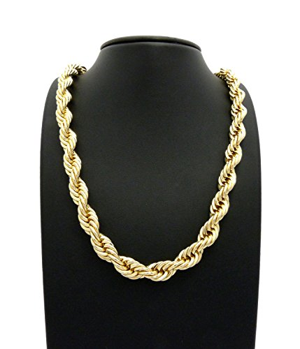 (Fashion 21 Hip Hop 80' Unisex Rapper's 8mm, 10mm Various Size Hollow Rope Chain Necklace in Gold, Silver Tone (Gold - 10mm 26