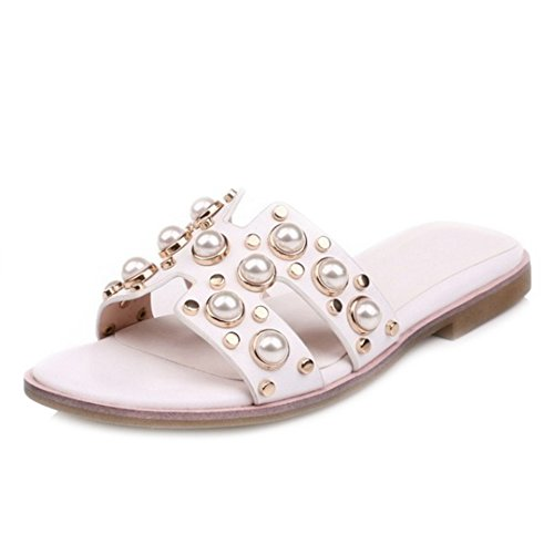 Sjjh Size Beautiful Slippers Available And Slipper With Pearl Gorgerous Flat Large Decoration White IqzUrqw