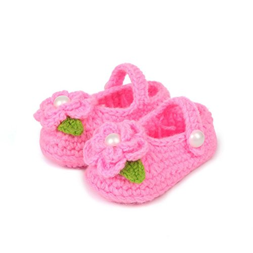 SPHTOEO Baby Infant Newborn Soft Warm Handmade Wool Knit Flowers Shoes 3-12 months(Big Pink)