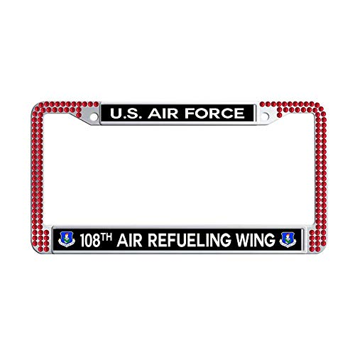 - Toanovelty US Air Force 108th Air Refueling Wing Bling Crystal License Plate Frame, Waterproof Red Bling Cool Auto License Tag Holder 6' x 12' in