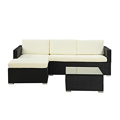 Modern Outdoor Garden, Sectional Sofa Set with Coffee Table - Black Wicker Sofa Furniture Set - Colors Red and Beige