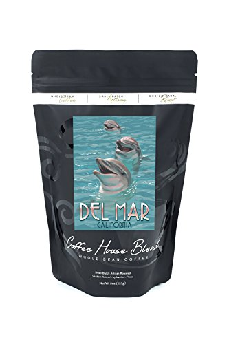 Del Mar, California - Dolphins (8oz Whole Bean Small Batch Artisan Coffee - Bold & Strong Medium Dark Roast w/ - Mar California