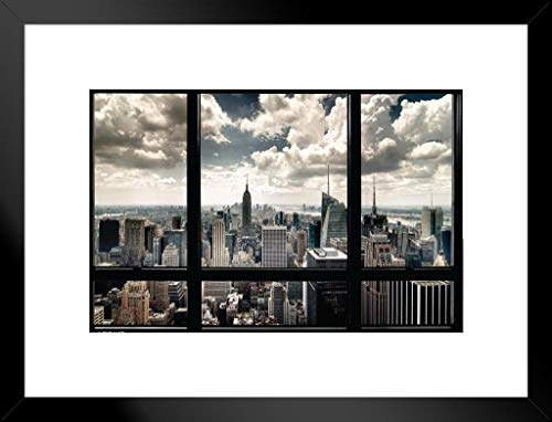 Pyramid America New York City Window Skyline Photo Matted Framed Poster 26x20 ()