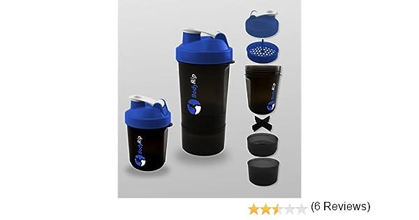 BodyRip - Proteína Coctelera 400 - 500 ml 3 Nivel mezclador, azul, 26cm x 9.5cm: Amazon.es: Deportes y aire libre