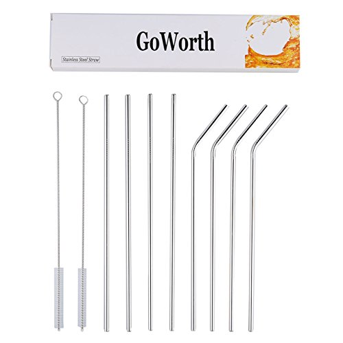 GoWorth 10.5-Inch Stainless Steel Bent and Straight Drinking Straws with 2 Cleaning Brushes (Set of 8)