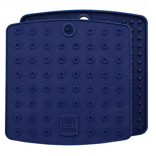 Premium Silicone Trivet Mats/Hot Pads, Pot Holders, Spoon Rest, Jar Opener & Coasters - Our 5 in 1 Kitchen Tool is Heat Resistant to 442 °F, Thick & Flexible (7 x 7, Navy Blue, 1 Pair)