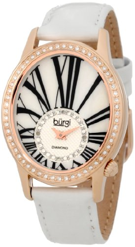 Burgi Women's BUR058WT Swiss Quartz Diamond Strap -