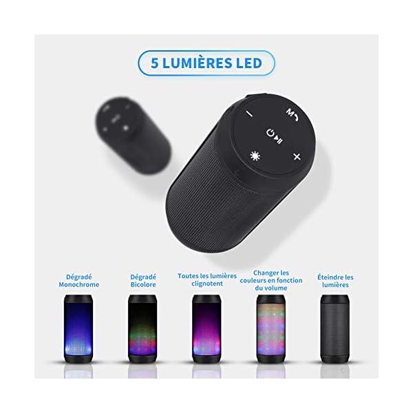 Enceinte Bluetooth Portable Lumineuse Haut-Parleur Bluetooth sans Fil avec LED Lumière Radio FM Fonction TF Carte TEL ELEHOT 3