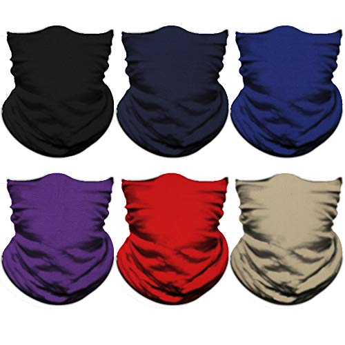 NTBOKW Headwear Seamless Bandana Headband Face Mask for Sun Dust Wind Protection Mask for Riding Motorcycle Cycling Fishing Hunting Summer Breathable Tube Mask for Men Women (6 Pack Pure Color 01) (Best Dust Mask For Yard Work)