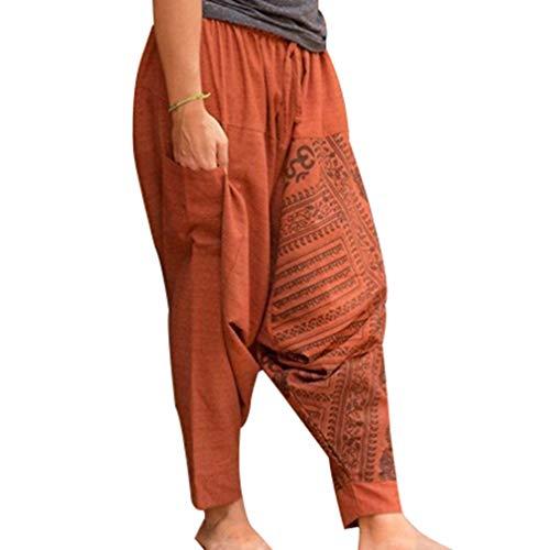 Fit Harem Pantalon Taille Homme Pantalon Hippie M Bas Confortable Cordon Grande Décontracté Crotch 3xl Loose Orange Bohème Élastique Avec Sarouel w001x6F8