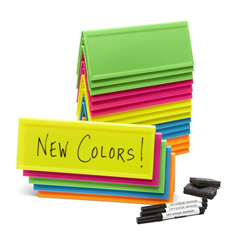 Set of 20 Neon Reusable Name Tents, Plus Mini-erasers, Markers, Tote Bag