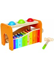 Hape Pound & Tap Bench with Slide Out Xylophone - Award Winning Durable Wooden Musical Pounding Toy for Toddlers,