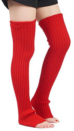 Leotruny Women's Winter Over Knee High Footless Socks Knit Leg Warmers (Red) ()