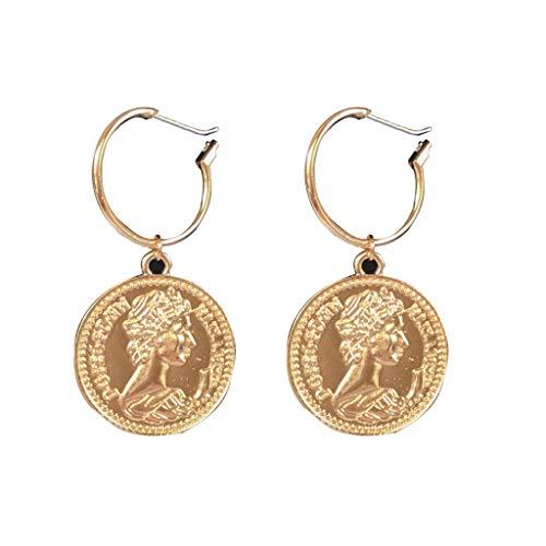 Women Earrings,Vintage Tribal Chandelier Portrait Coins Drop Earring ()