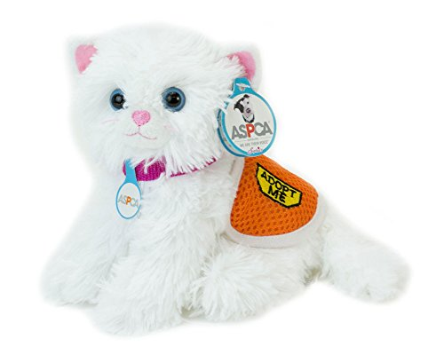 Adopt-A-Pet Kitten. 18 Inch Doll Pets, White Plush Kitten with ASPCA Adoption Vest Perfect for your 18 Inch American Girl Dolls & More! ASPCA Adoption Vest on White Cat (Pets For 18 Inch Dolls)