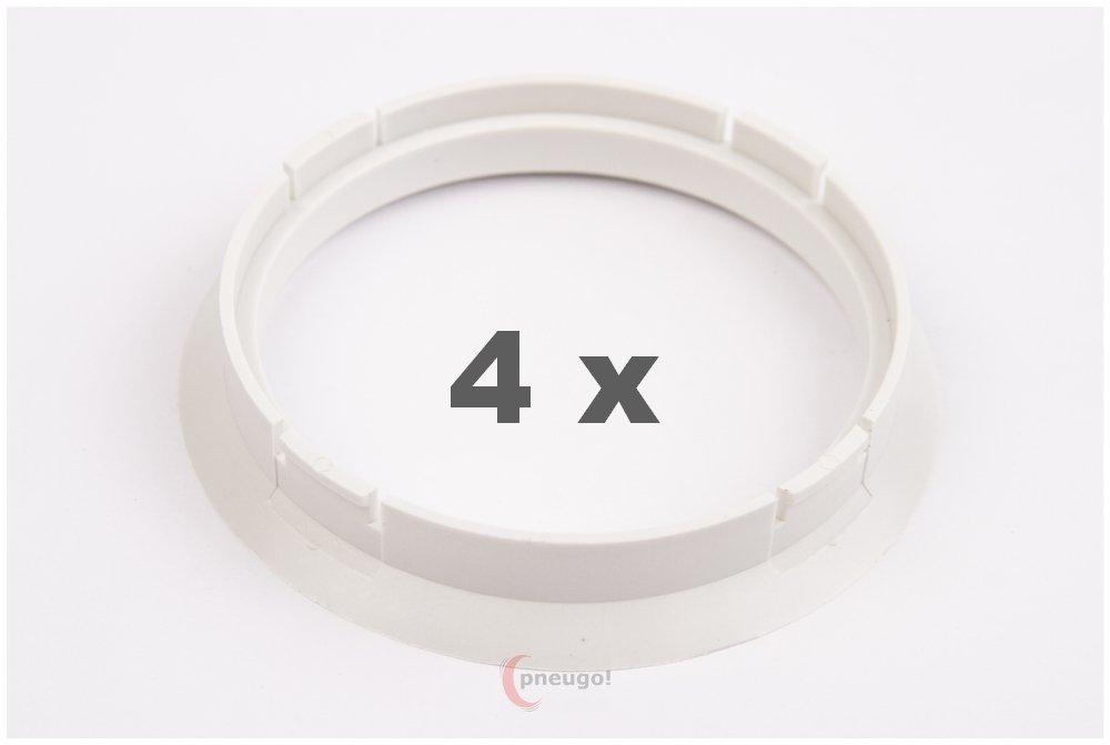 4 X anelli di centraggio 72.5 su 65.1 bianco/bianco. Pneugo
