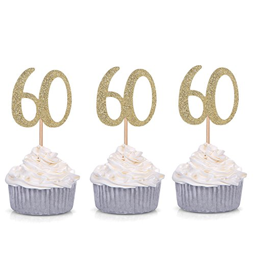 Giuffi Set of 24 Golden 60th Birthday Cupcake Toppers Party Decors -