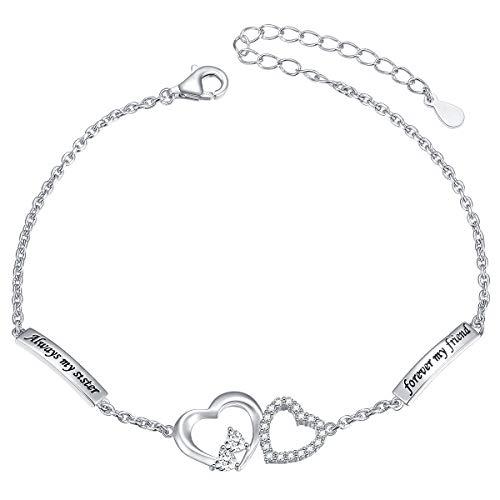 DAOCHONG Sterling Silver Always My Sister Forever My Friend Heart Adjustable Bracelet Bangle Gift for Sister (Bracelet)