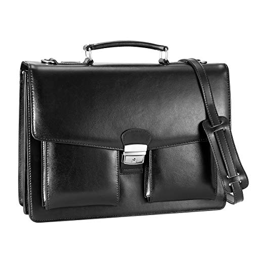 - DanPi Leather Briefcase for Men Cowhide Laptop Briefcase with Lock 14 inch Black