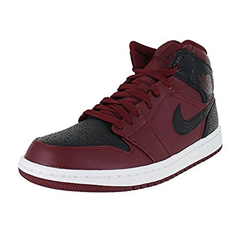 Nike Mens Air Jordan 1 Mid, Team Red/Black-Summit White, 13 by NIKE