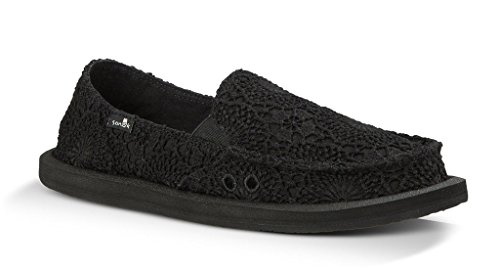 Sanuk Womens Donna Crochet Loafer Black/Black Size 6