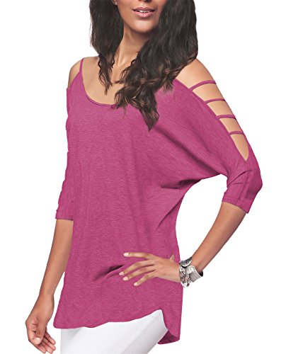 (iGENJUN Women's Casual Loose Hollowed Out Shoulder Three Quarter Sleeve Shirts,S, Berry)