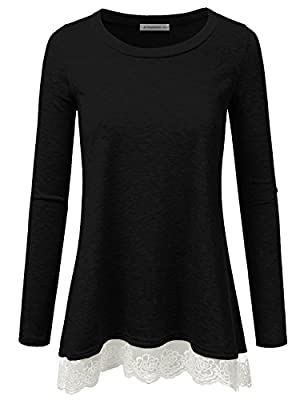 JJ Perfection Womens Long Sleeve Slim Fit Lace Flowy Top T-Shirt