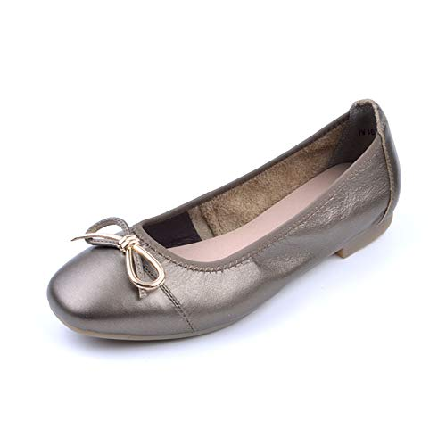 Leather Fashion Shoes FLYRCX Shoes Soft Single Shoes Ms Office Bow C Bottom Flats Work Ballet Comfort qqw87zRgp