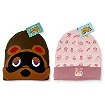 Controller Gear Authentic and Officially Licensed Animal Crossing: New Horizons - Celeste Floral Knit Beanie Foldover and Tom Nook Beanie [2 Pack] - Not Machine Specific