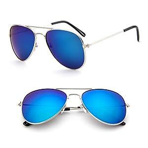 NNDA CO Children Toddler Boy Girl Fashion UV Protection Eyewear Sunglasses UV400 (Silver&Blue)