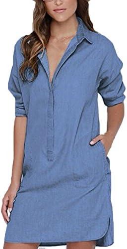 d044631683 Auxo Women Denim Dress Jean Shirts Button Down Long Sleeve Shift Mini Dress  Long Tops