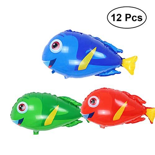 YeahiBaby 12pcs Tropical Fish Foil Balloons Helium Aluminum Birthday Balloon Party Decoration Supplies(Random Color) -