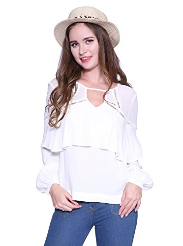 White Ruffled Top Outfit (Tops for Women Fashion Long Sleeve Chiffon Lace Hollow Blouse Fall Loose Office Shirt by HongyuAmy (XL, White))