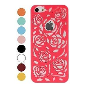 GONGXI-Patrón Rose Hollow plástico duro caso para iPhone 5/5S , Rojo