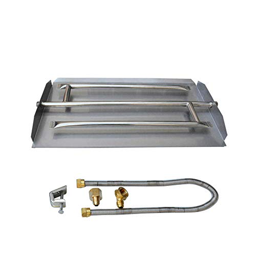 Stanbroil Stainless Steel Natural Gas Fireplace Triple Flame Pan Burner Kit, 22.5-inch