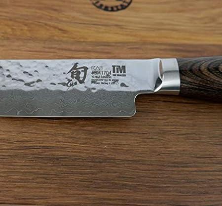 Kai Shun Tim Mälzer Bundle TDM-1704 - Cuchillo jamonero de 32 capas, hoja de 24 cm, acero de Damasco + piedra de afilar Kai AP-0316 con grano 3000/6000 y gamuza de limpieza