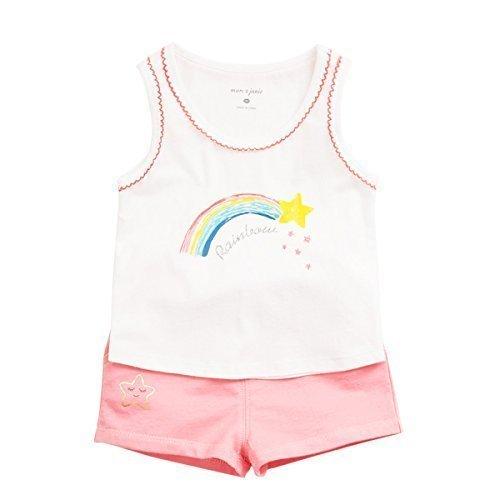 Shorts T-shirt Rainbow (marc janie Little Girls' Fruit Rainbow Print T-Shirts and Short Sets Rainbow Print 18 Months)