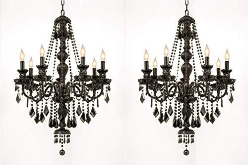 - Set of 2 - New! Jet Black Gothic Crystal Chandelier Lighting H37