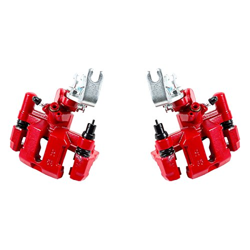 CCK02489 [ 2 ] REAR Performance Grade Red Powder Coated Semi-Loaded Caliper Assembly Pair Set