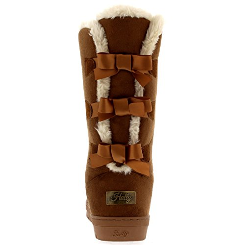 Nieve Claro Marrón Rain Invierno Tall Bow Botas Fur Mujer Triplet Classic Impermeable wnqTafx876