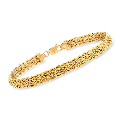 Ross-Simons 14kt Yellow Gold Braided Rope - Single Strand Bracelet Inch 7