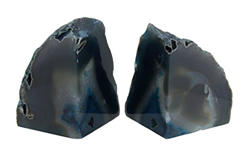 Things2Die4 Polished Blue Brazilian Agate Geode Bookends 4-7 Pounds - Agate Blue Cat