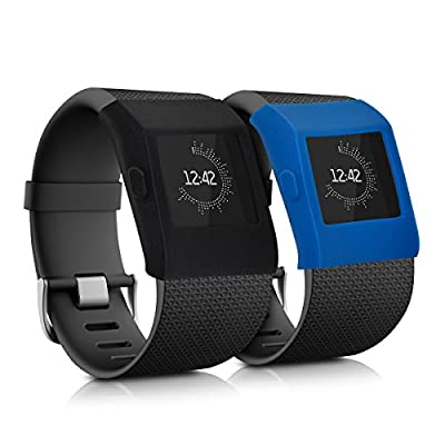 kwmobile 2in1 set: 2 x Sport bracelet case for Fitbit Surge without tracker in black dark blue