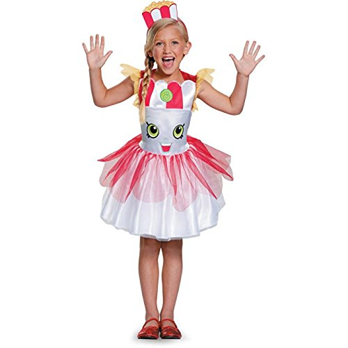 Popcorn Costumes (Shopkins Poppy Corn Classic Child Halloween Dress Up Costume Dress with Head Piece (4-6))